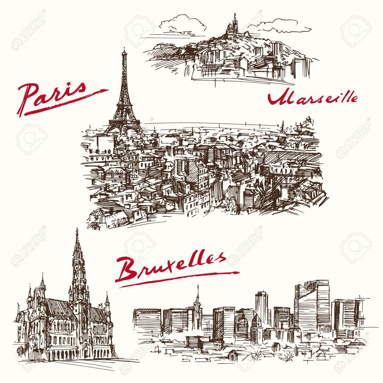 Paris, Marseilles, Brussels - hand drawn set - 40276321