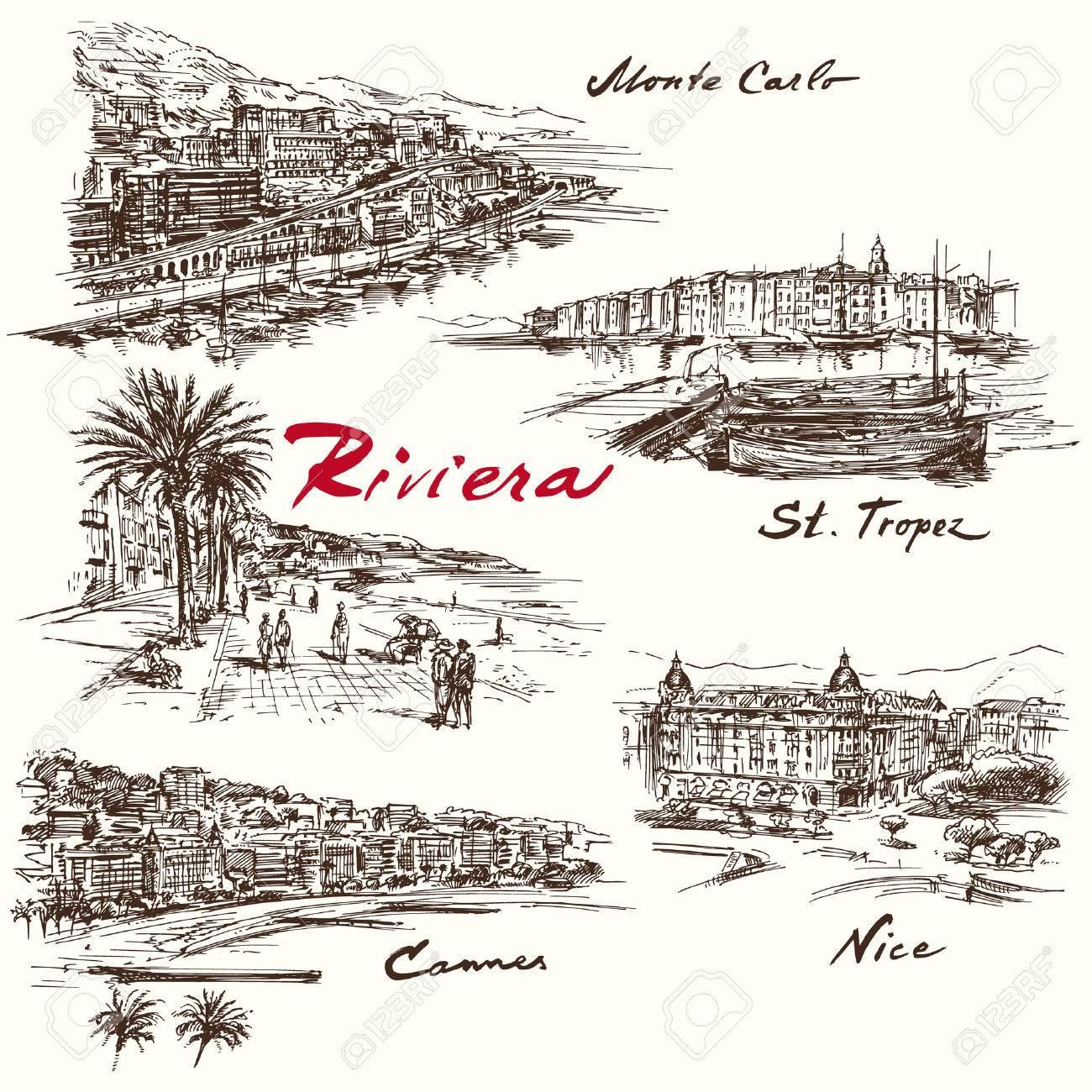 French Riviera - hand drawn set - 40276066