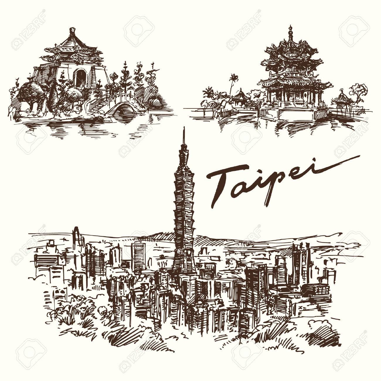 Hand drawn set - Taipei Standard-Bild - 40276068