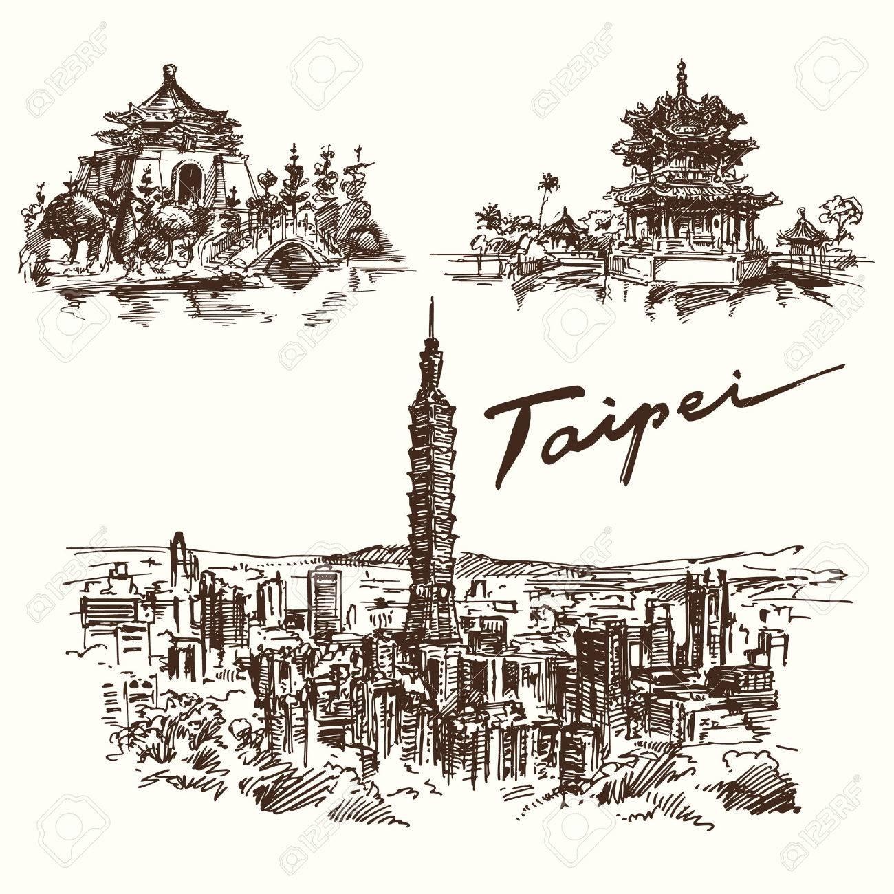 Hand gezeichnet Set - Taipeh Standard-Bild - 40276068