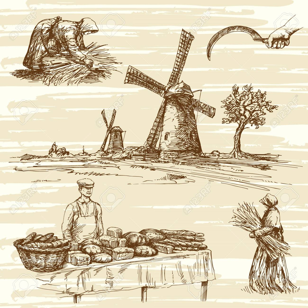 windmill and bakers products, hand drawn collection - 53158390