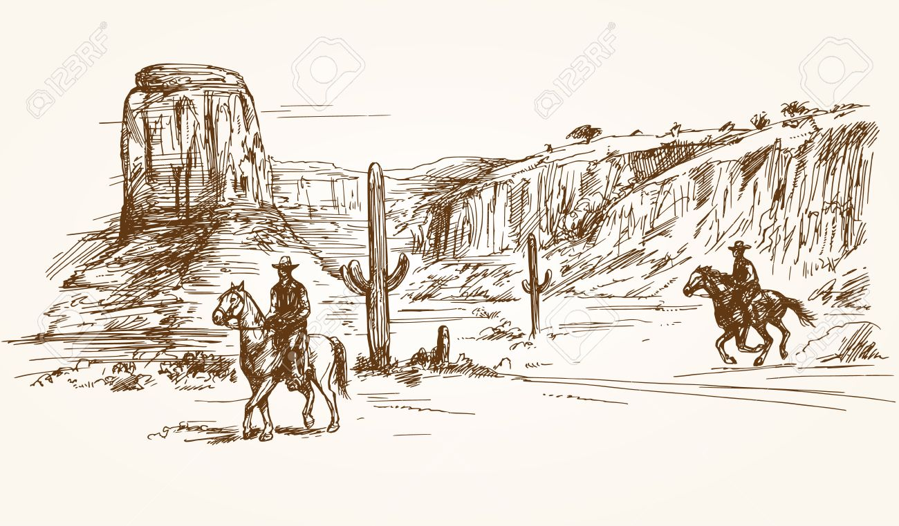 American wild west desert with cowboys - hand drawn illustration - 53158409