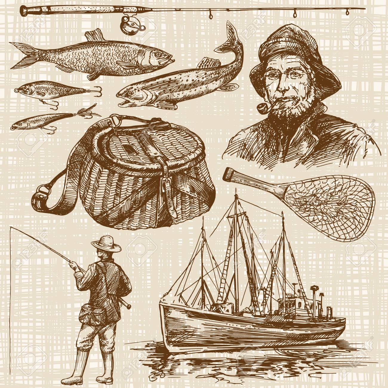 Fishing. Hand drawn set - 55080118