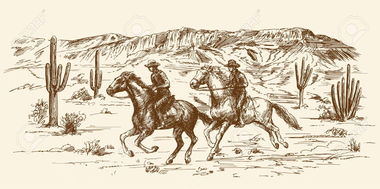American wild west desert with cowboys - hand drawn illustration - 55080121