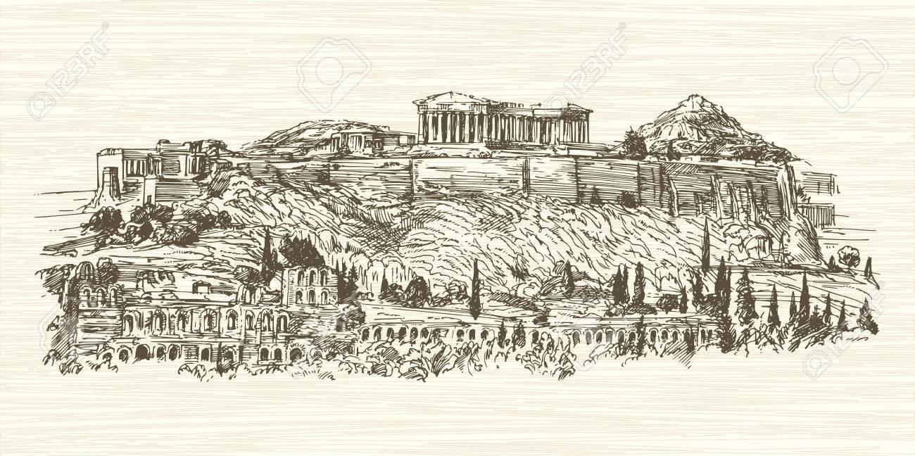 Grecia, Atenas, La Acrópolis. Dibujado A Mano Ilustración ...
