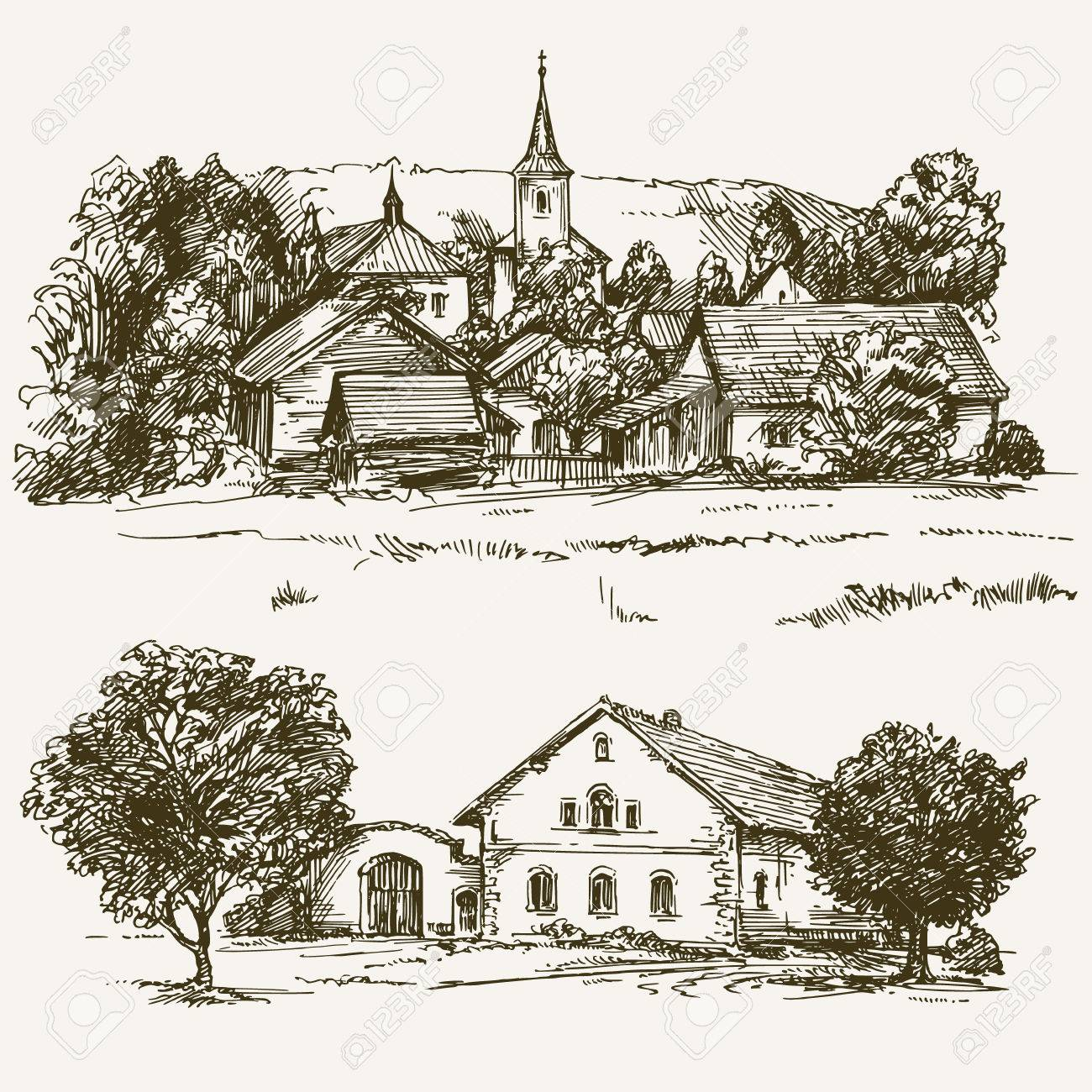 Rural village landscape, farm. Hand drawn set. - 62268721