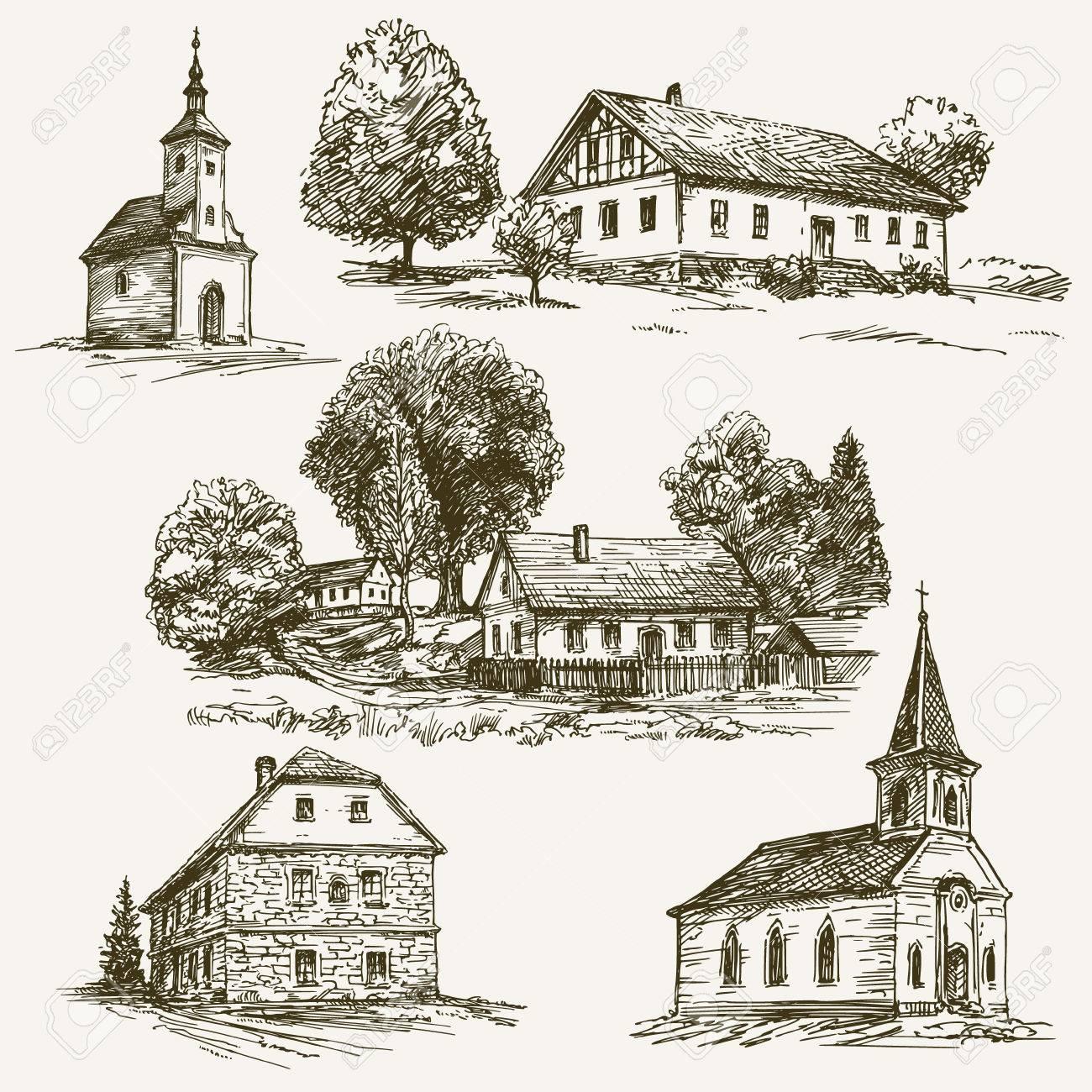 Rural village landscape, farm. Hand drawn set. - 62268726