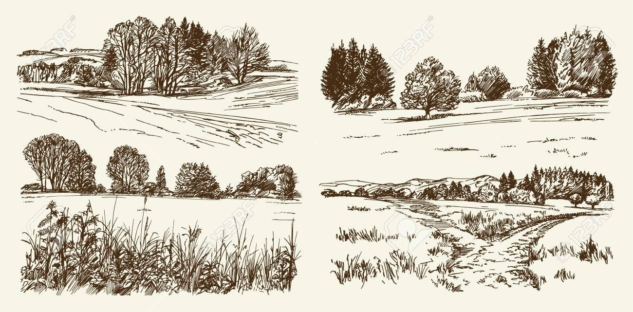 Rural landscape. Hand drawn set. - 69807098