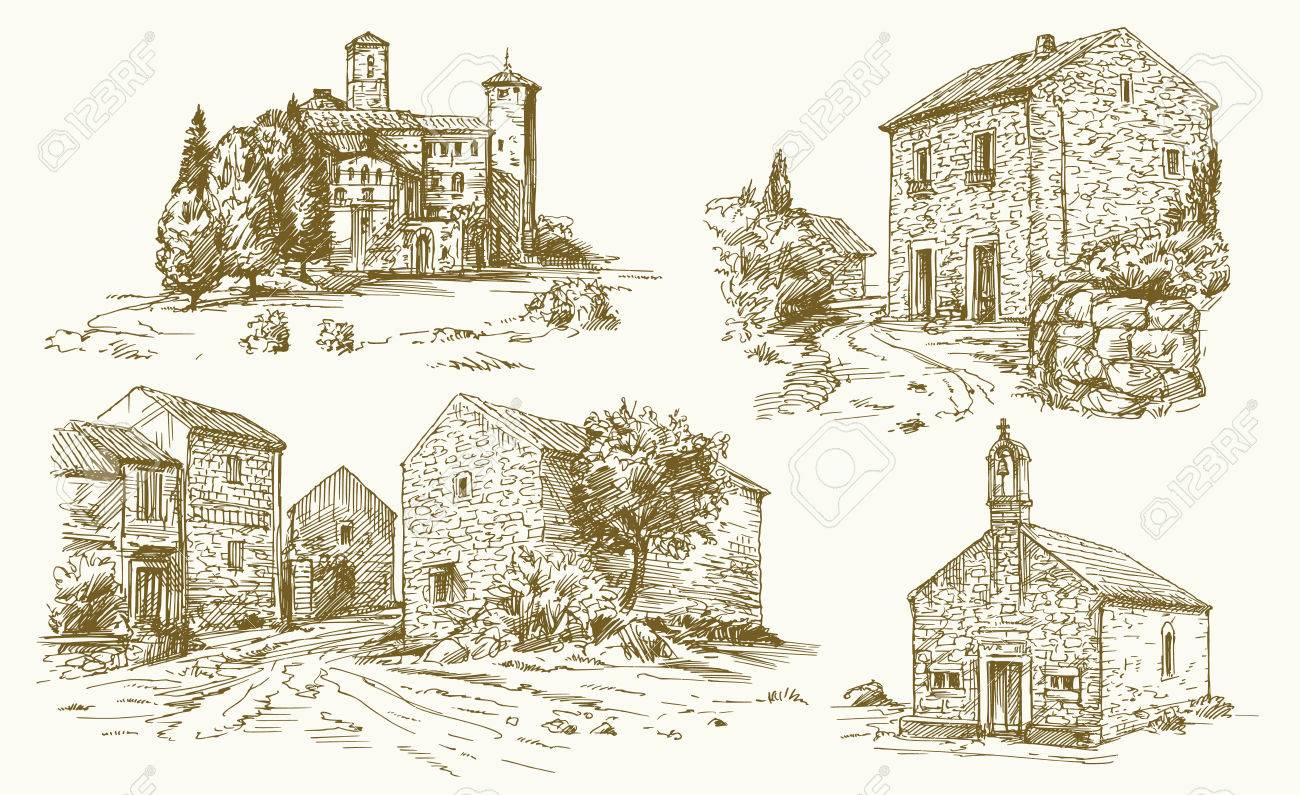 Italy, traditional rural houses. Hand drawn illustration. - 77580398