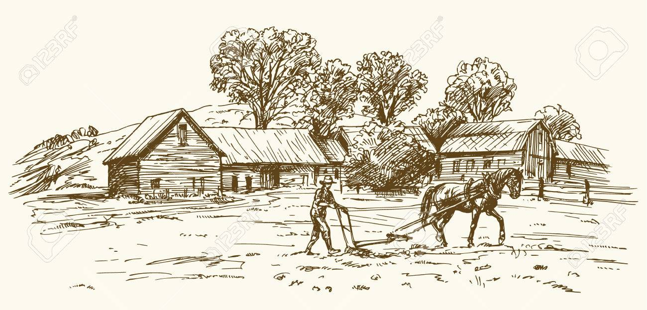 Ploughing The Field With Horse Barn On Background Stock Vector