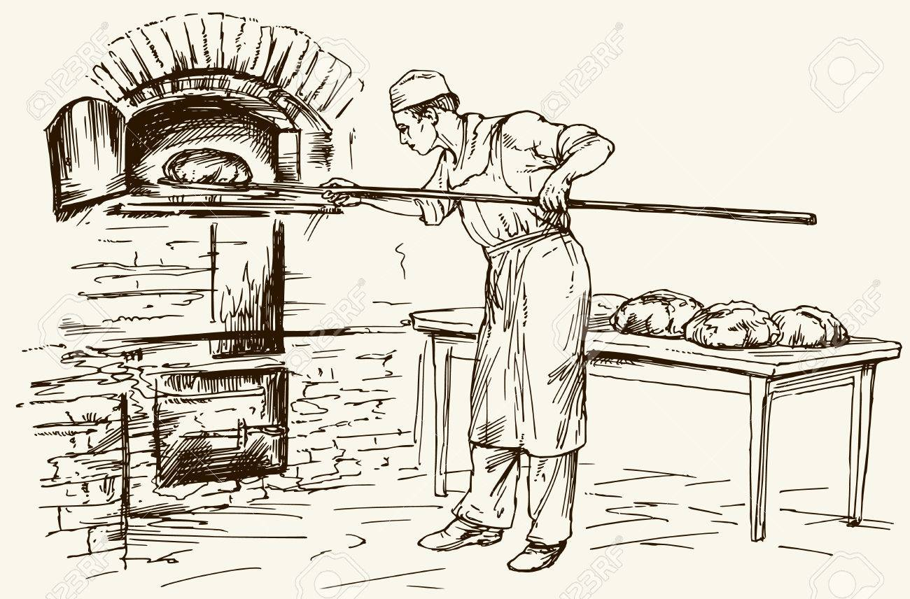 Baker taking out with shovel bread from the oven, vector illustration. - 77580414