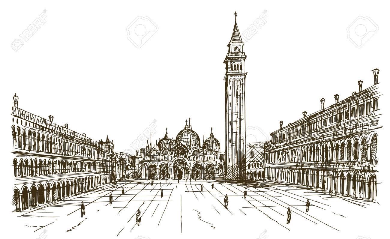 Italy, Venice, San Marco. Hand drawn sketch. - 77580389