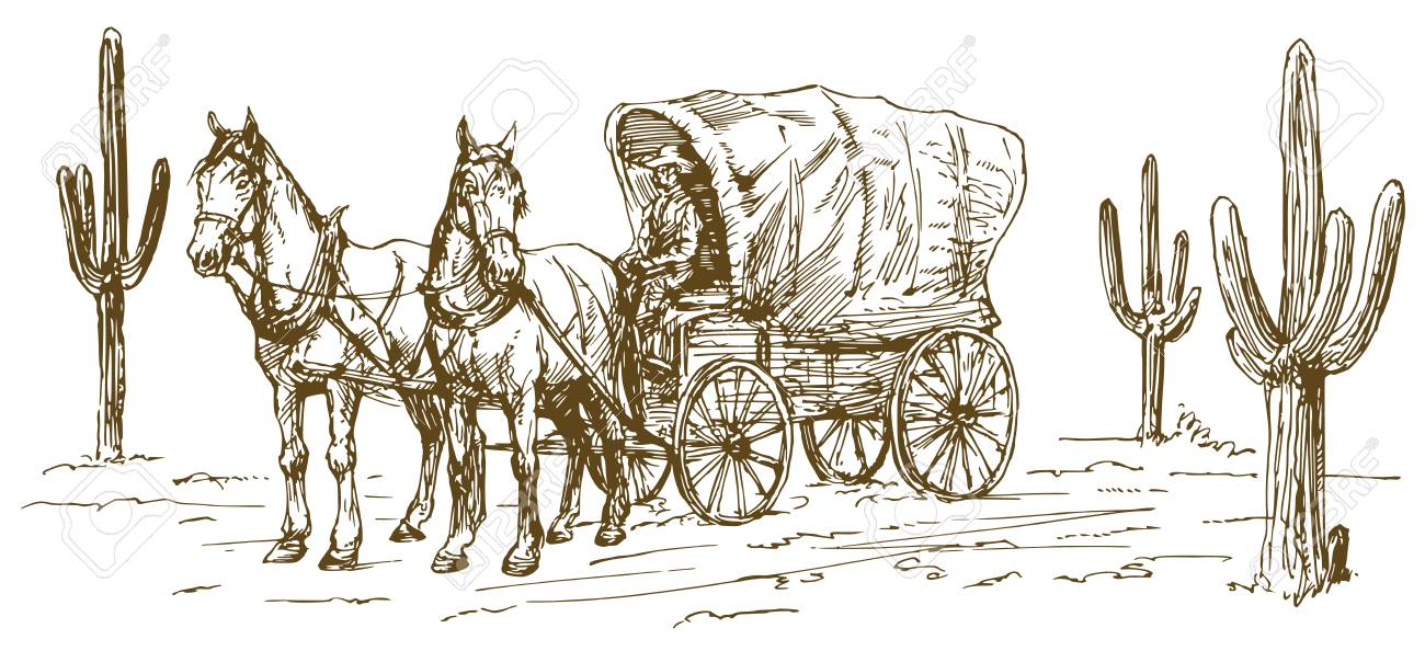 Western scenery with old wagon. - 94023533