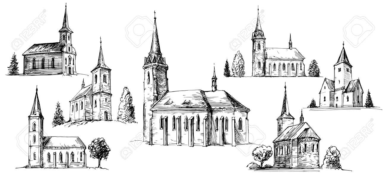 Christian church building, set of hand drawn vector illustration. - 110739373