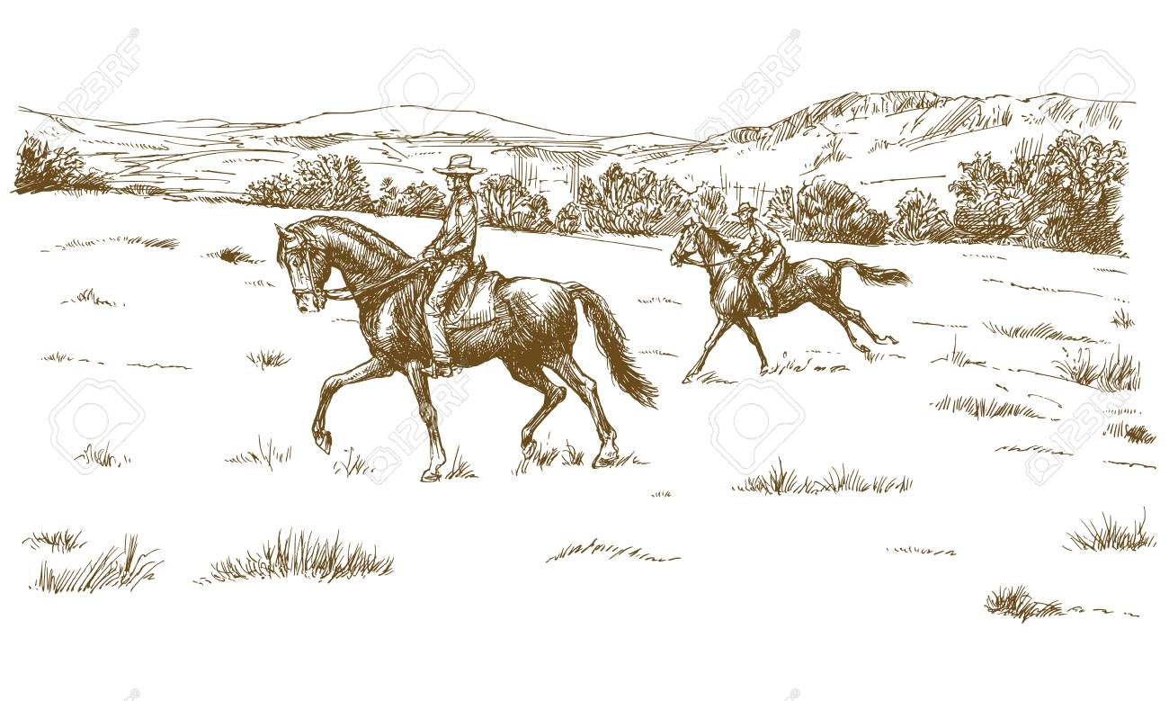 Horse riders in a green field. - 123169264