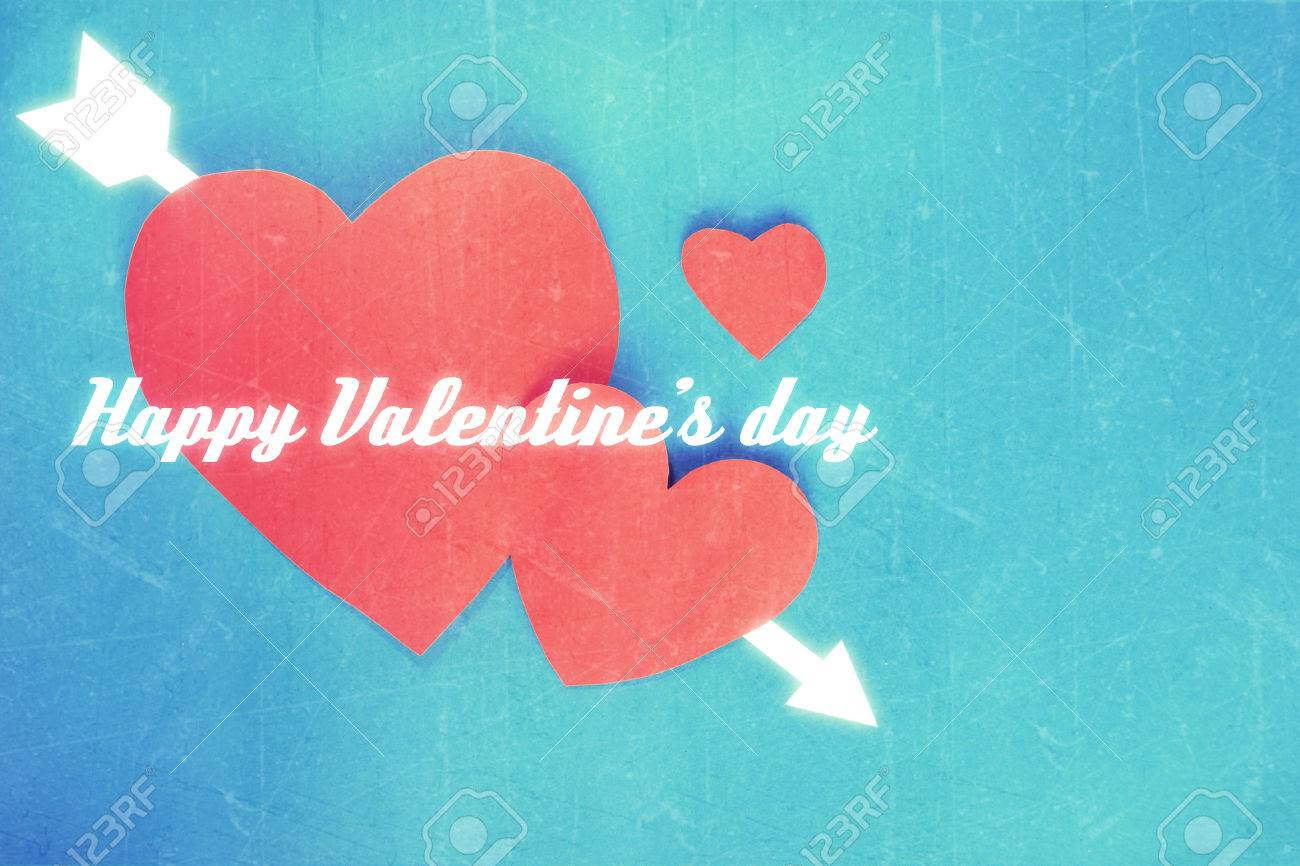 Happy Valentine S Day You Me And Arrow On Red Hearts Paper On