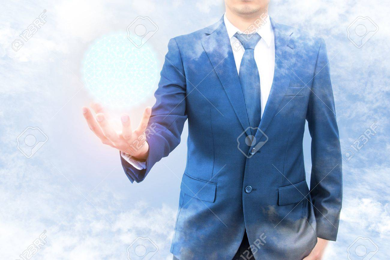 37e42e675ba8a Double exposure of businessman with cloud and blue sky hold cyber world  network connection on hand