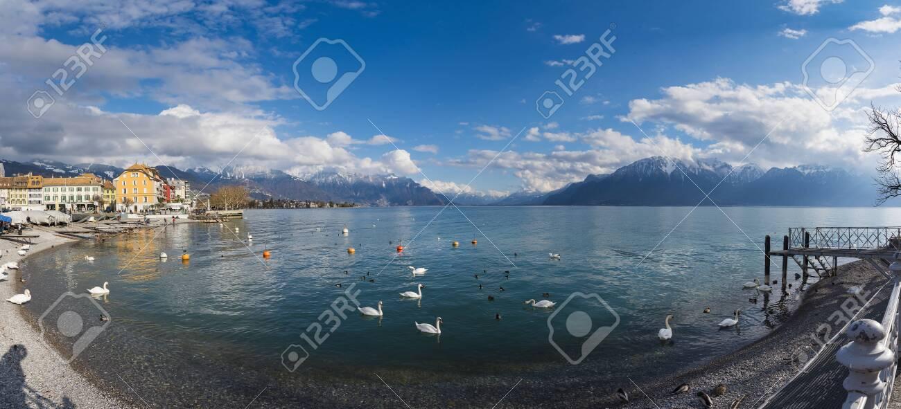 Beautiful panoramic landscape view at lake Geneva, Vevey, Switzerland - 124002049