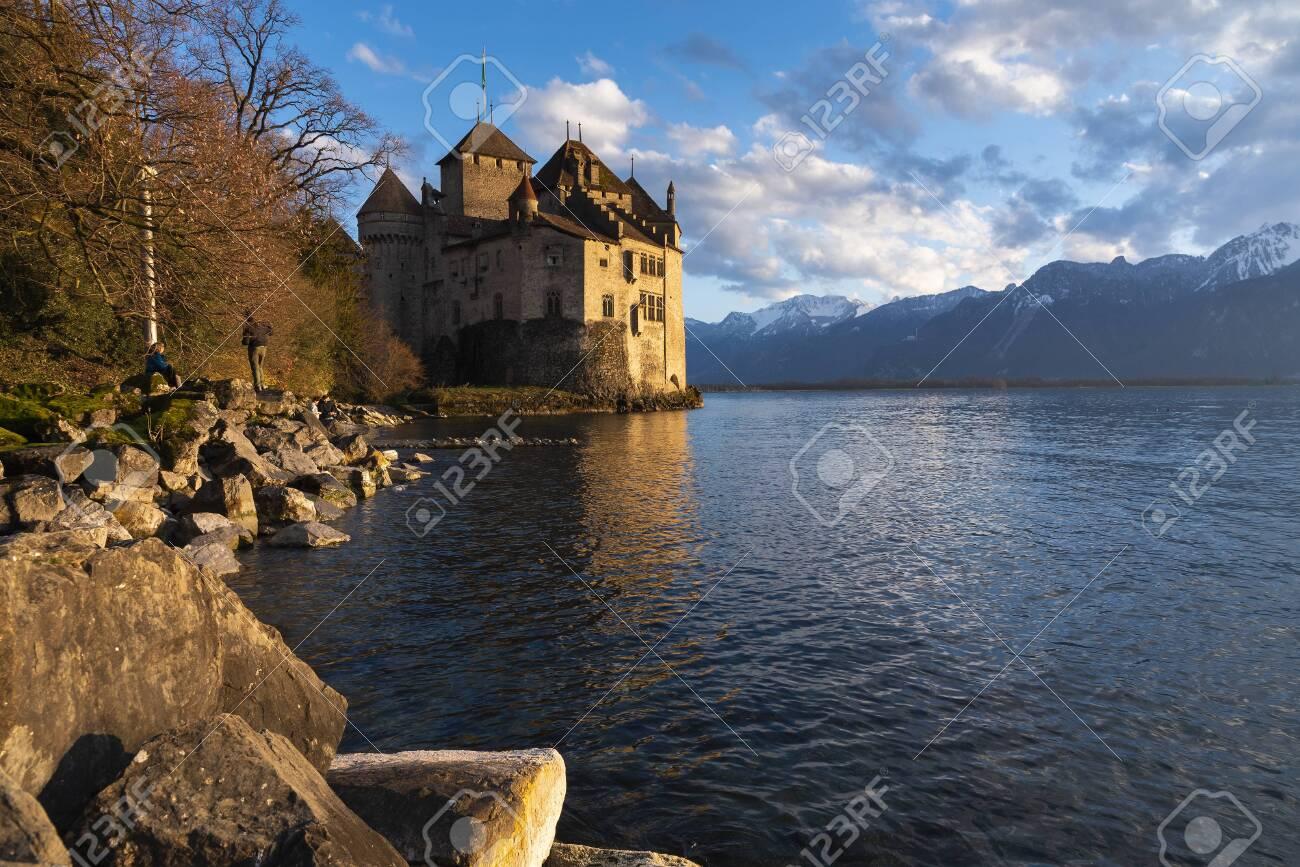 Beautiful landscape of famous Chateau de Chillon at Lake Geneva, Montreux Switzerland - 124002130