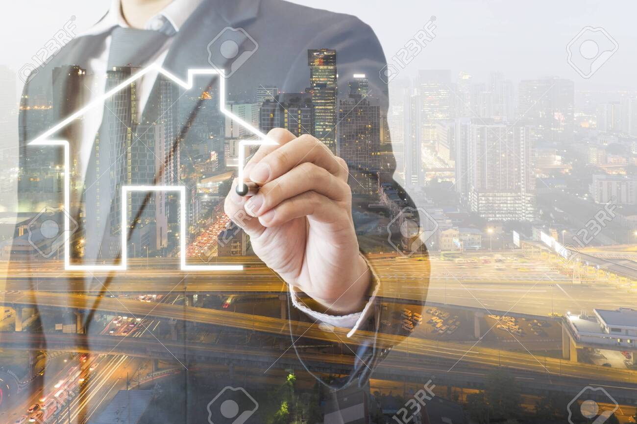Double exposure of professional businessman drawing house with city of business background in real estate property concept - 124002326
