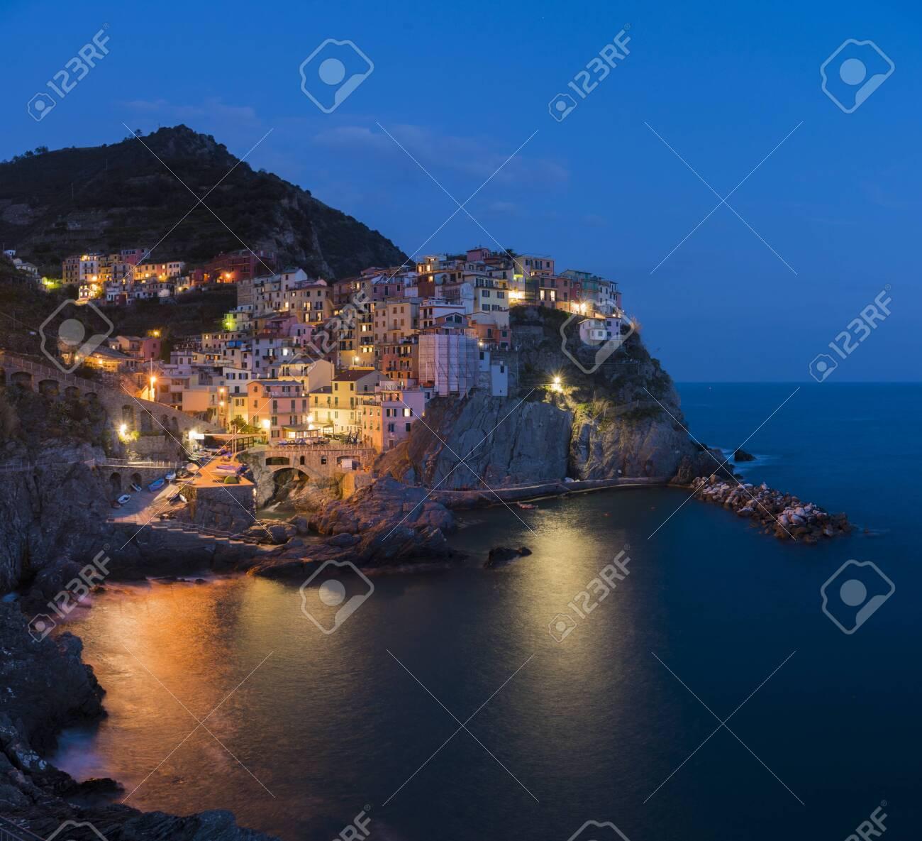Manarola, 1 of 5 fishing village of Cinque Terre, coastline of Liguria in La Spezia, Italy - 124002186