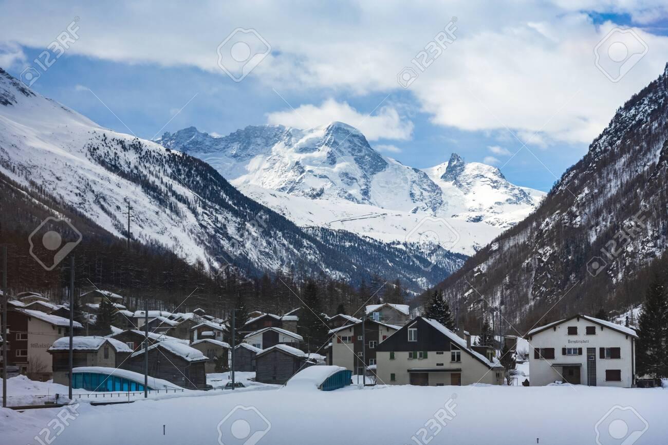 Beautiful village of Zermatt with Matterhorn in the background, Switzerland - 124002192