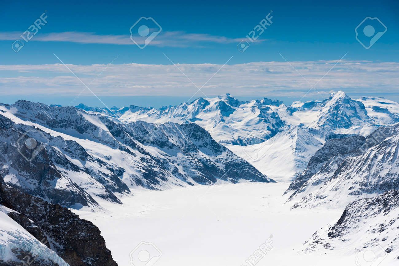 Aletsch Glacier/Fletsch Glacier. Panoramic view part of Swiss Alps alpine snow mountains landscape from Top of Europe at Jungfraujoch station, Switzerland - 131648538