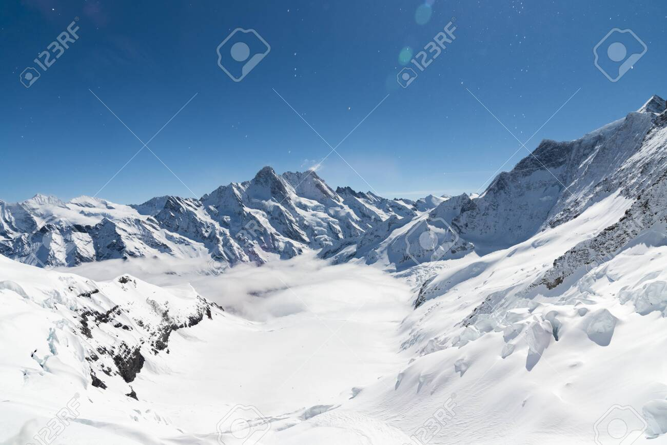 Aletsch Glacier/Fletsch Glacier. Panoramic view part of Swiss Alps alpine snow mountains landscape from Top of Europe at Jungfraujoch station, Switzerland - 131648431