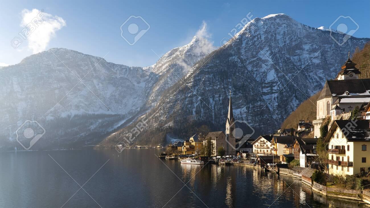 Lake Hallstatt, Austria. Hallstatt village in Alps mountains. UNESCO world heritage site - 134880656