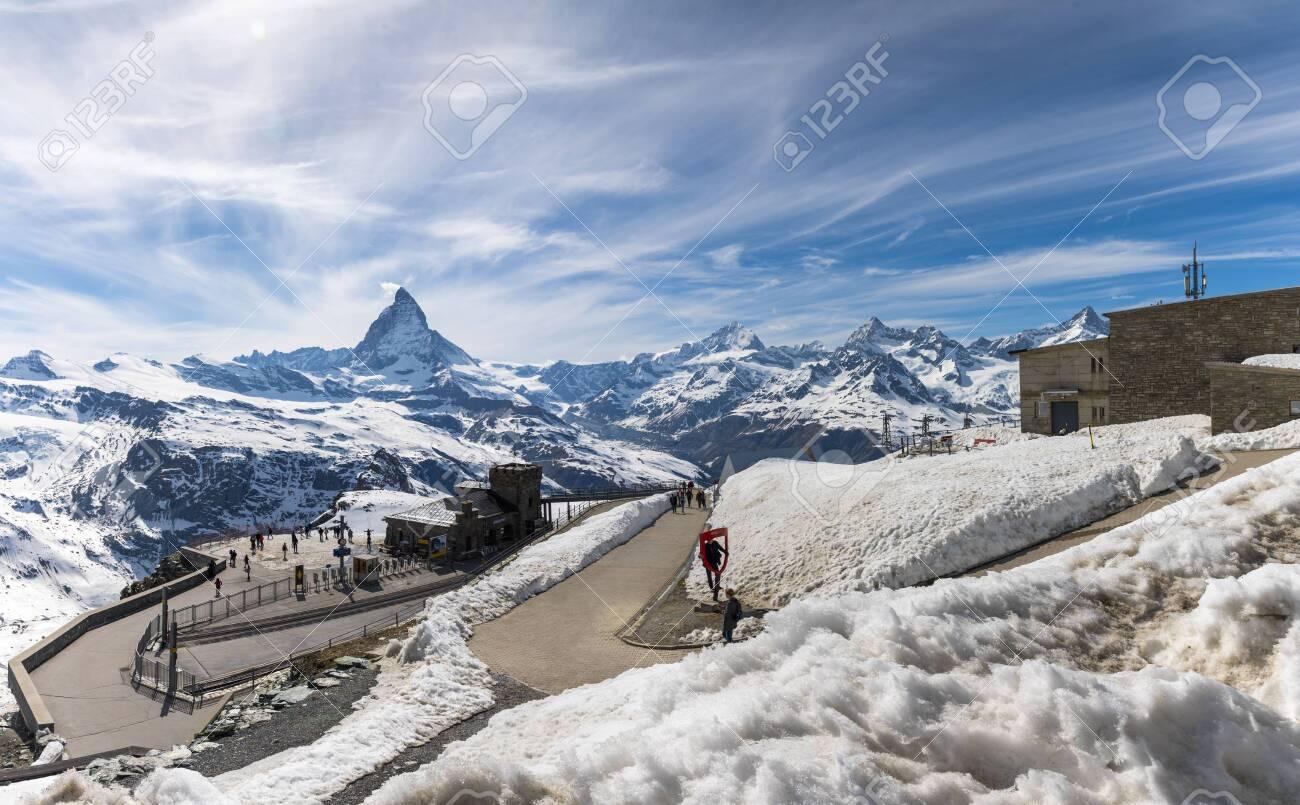 The famous Matterhorn snow mountain landscape at Gornergrat station in Zermatt, Switzerland - 131648573