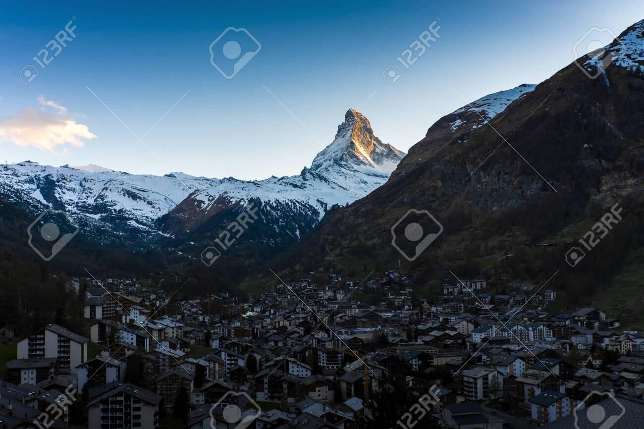Sunset Matterhorn mountain at Zermatt Village, Switzerland - 131648586