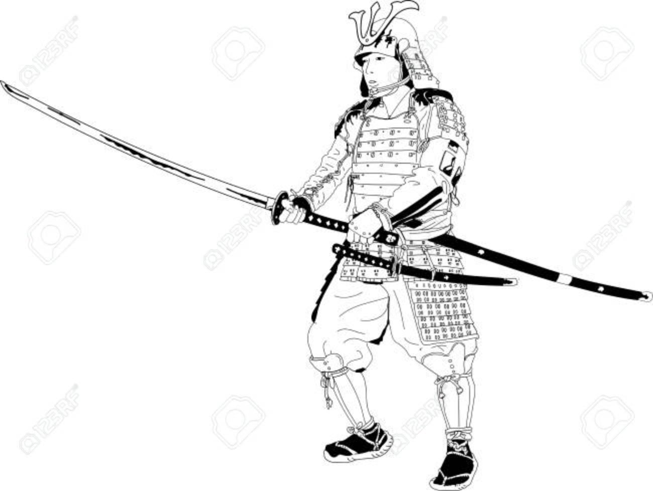 Vector Drawing Samurai In Kabuto Armor