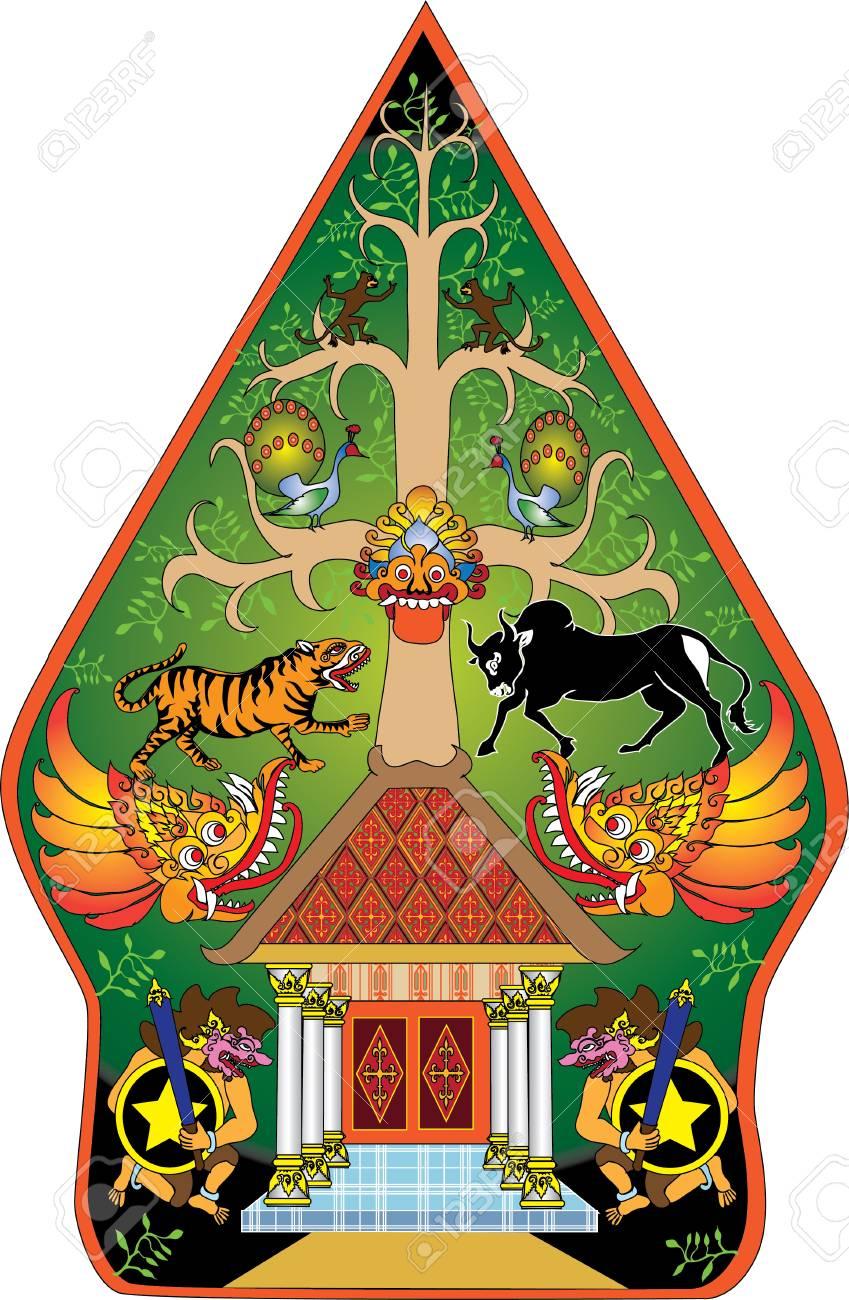Wayang Gunungan Color Character Indonesian Traditional Shadow