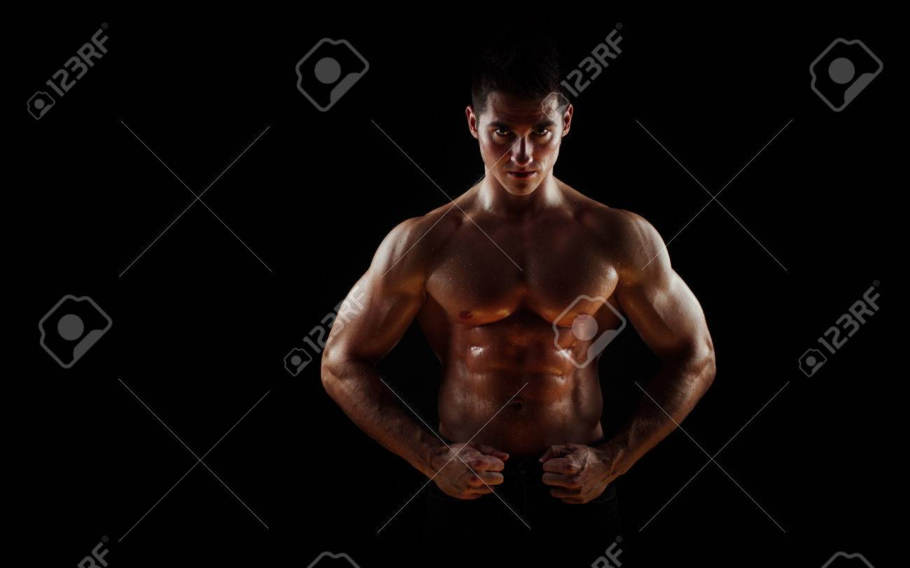 Man With Muscular Torso Isolated On Black Background Male Torso