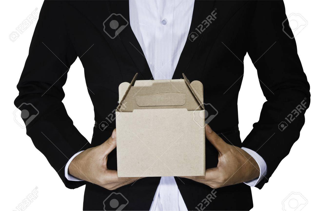 Business man carry box - 15183608