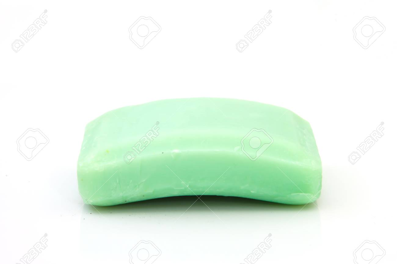 Green Bar of Soap on isolated Stock Photo - 23794674