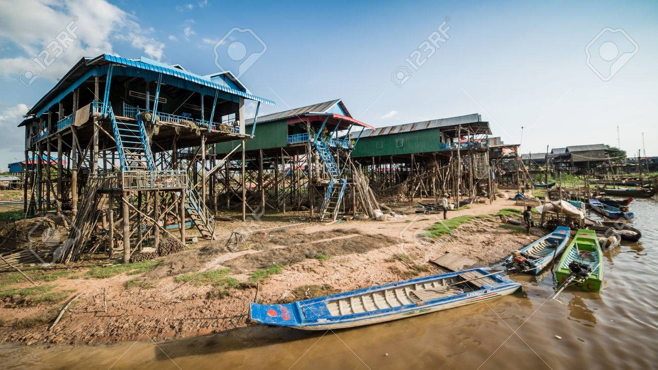 Fisherman village of Kompong Khleang at Tonle Sap Lake, Cambodia. The lake is the largest in southeast Asia. - 83494571