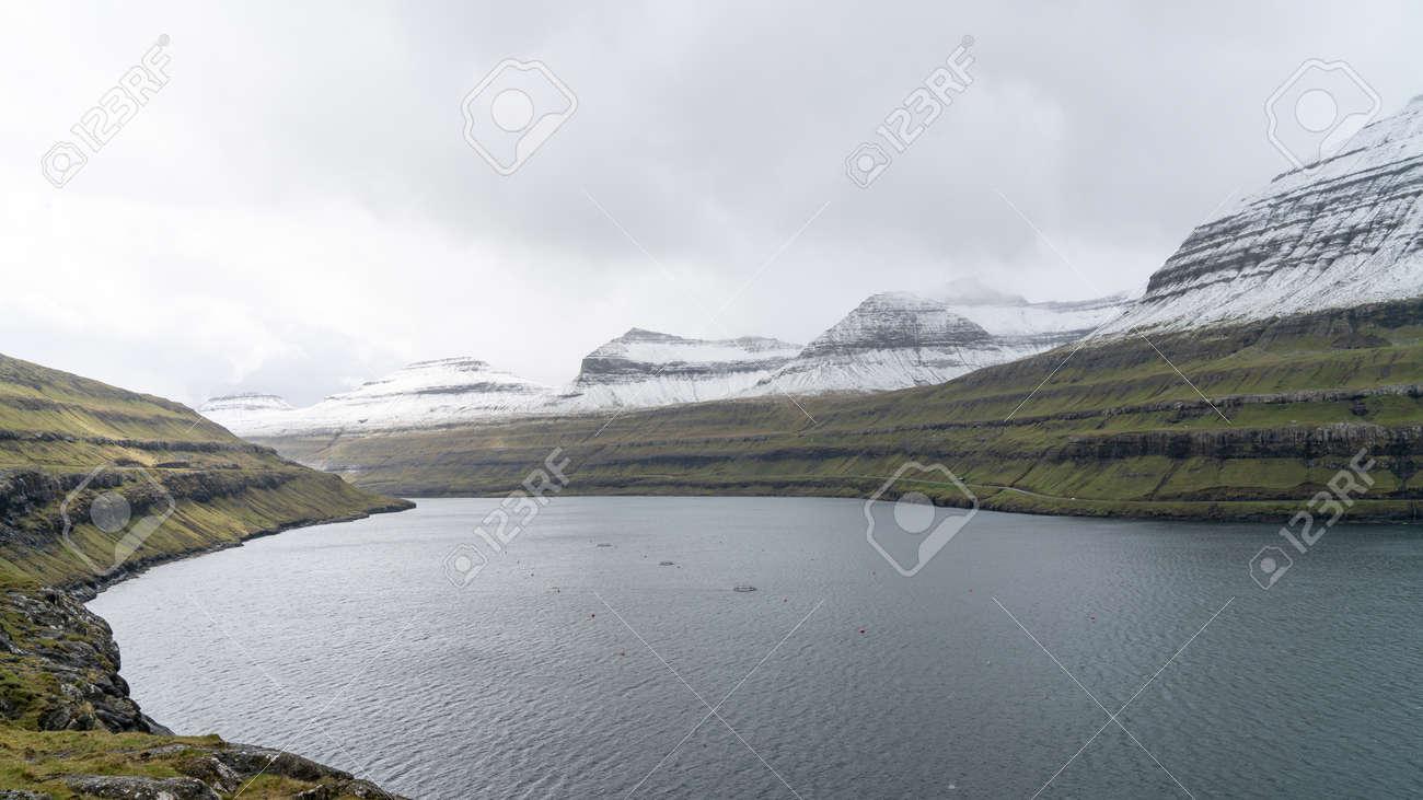 Dramatic landscape on Faroe Islands. The nature of the Faroe Islands in the north Atlantic - 164385883