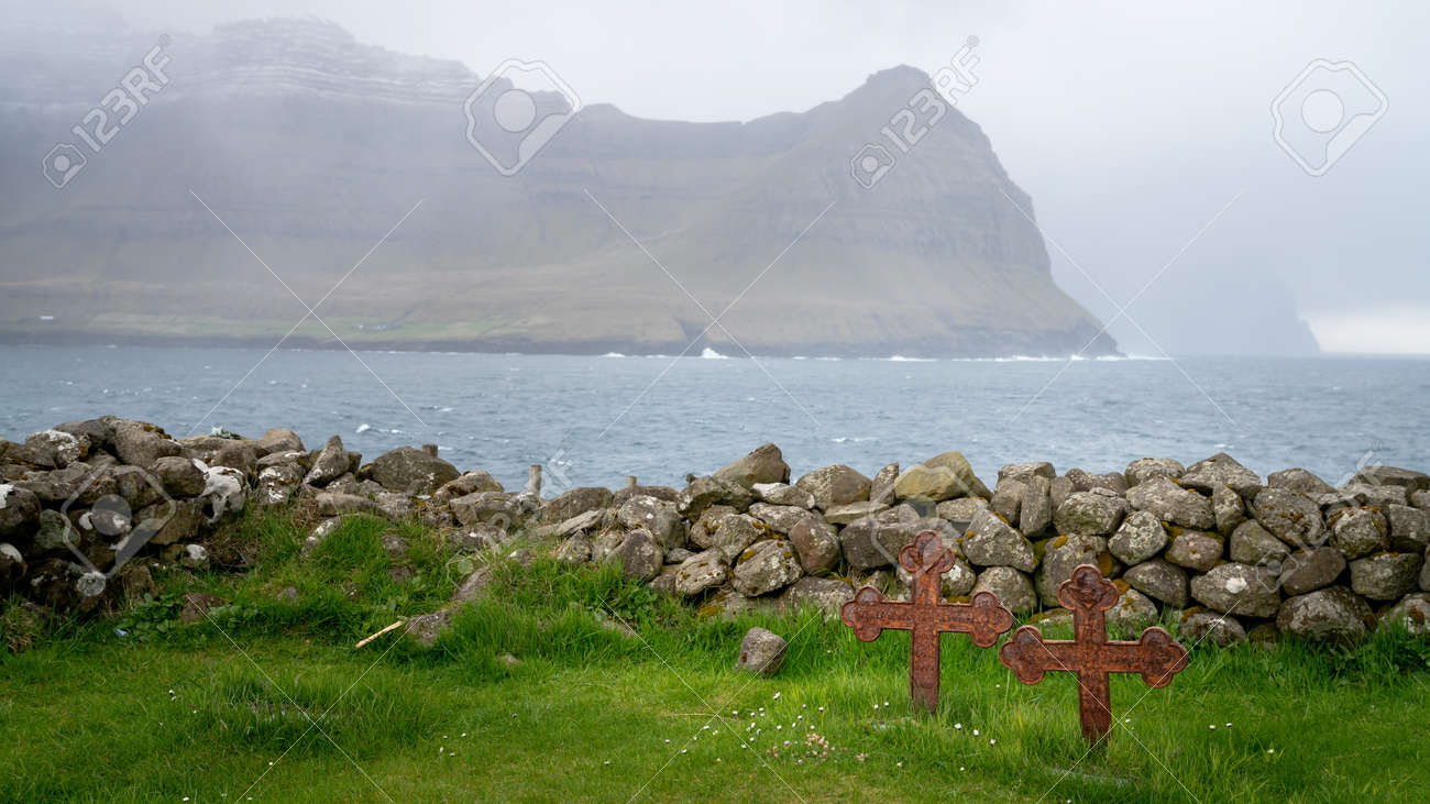 Cemetery of Vidareidi village church in Vidoy island, Faroe Islands - 164385895
