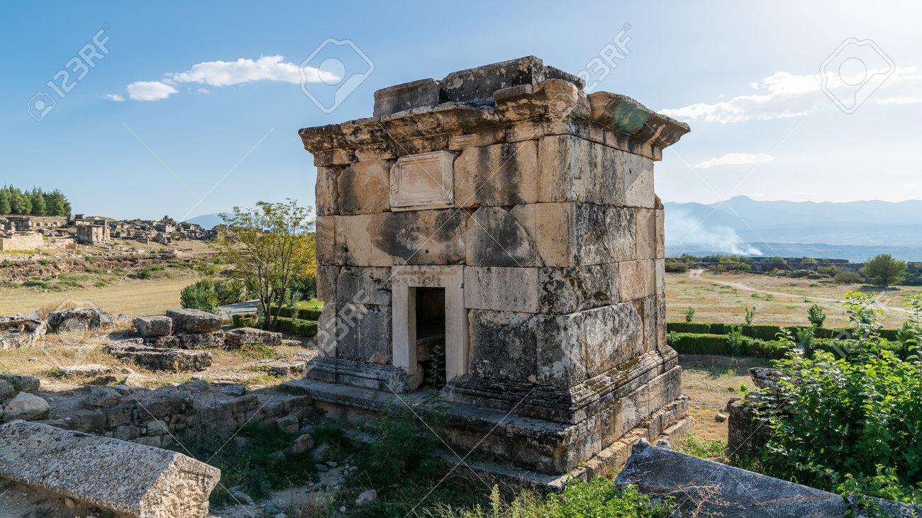 Denizli, Turkey - October 2019: Hierapolis city ruins in Pamukkale - 164356075