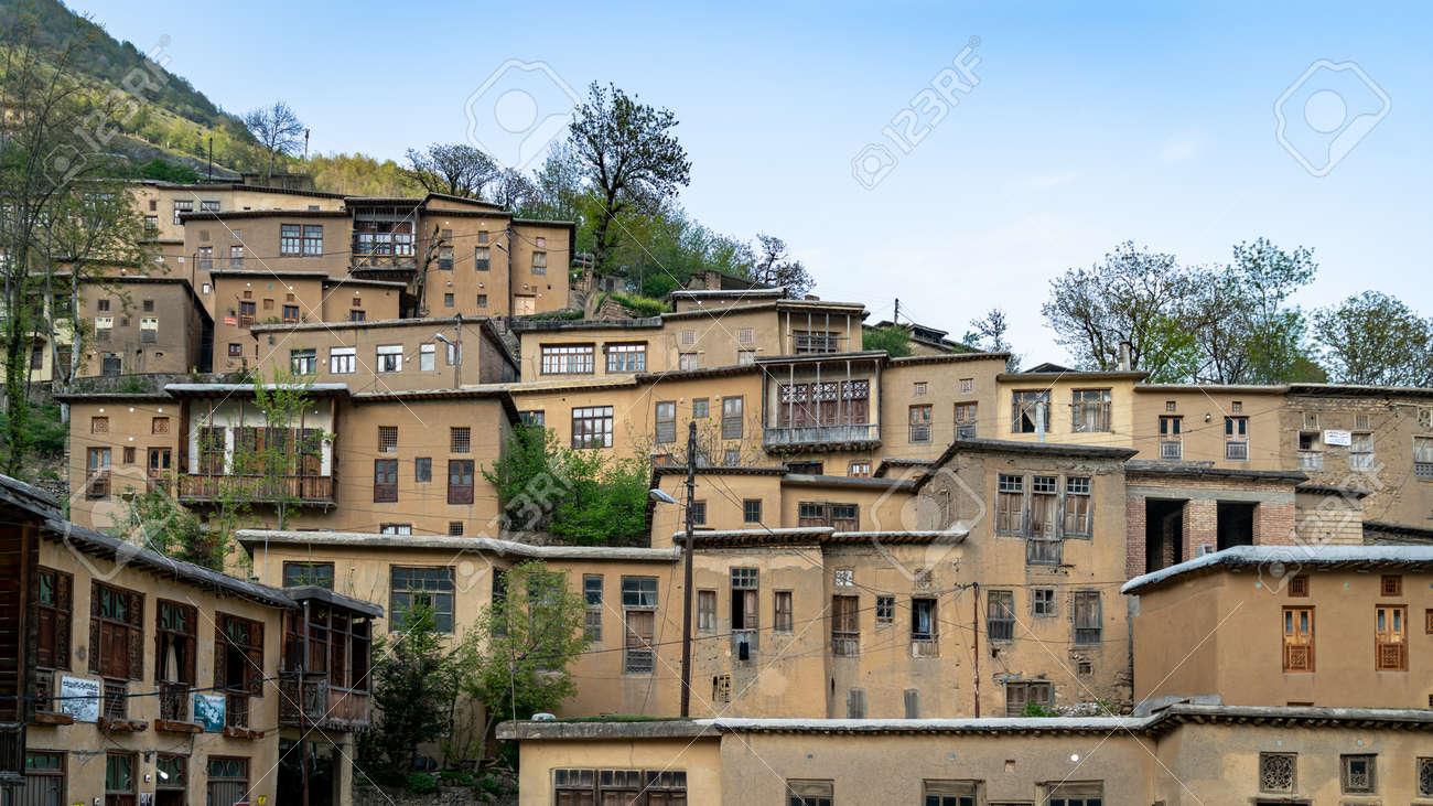 Masuleh, Iran - May 2019: Houses in traditional village of Masuleh in Gilan province - 164356045