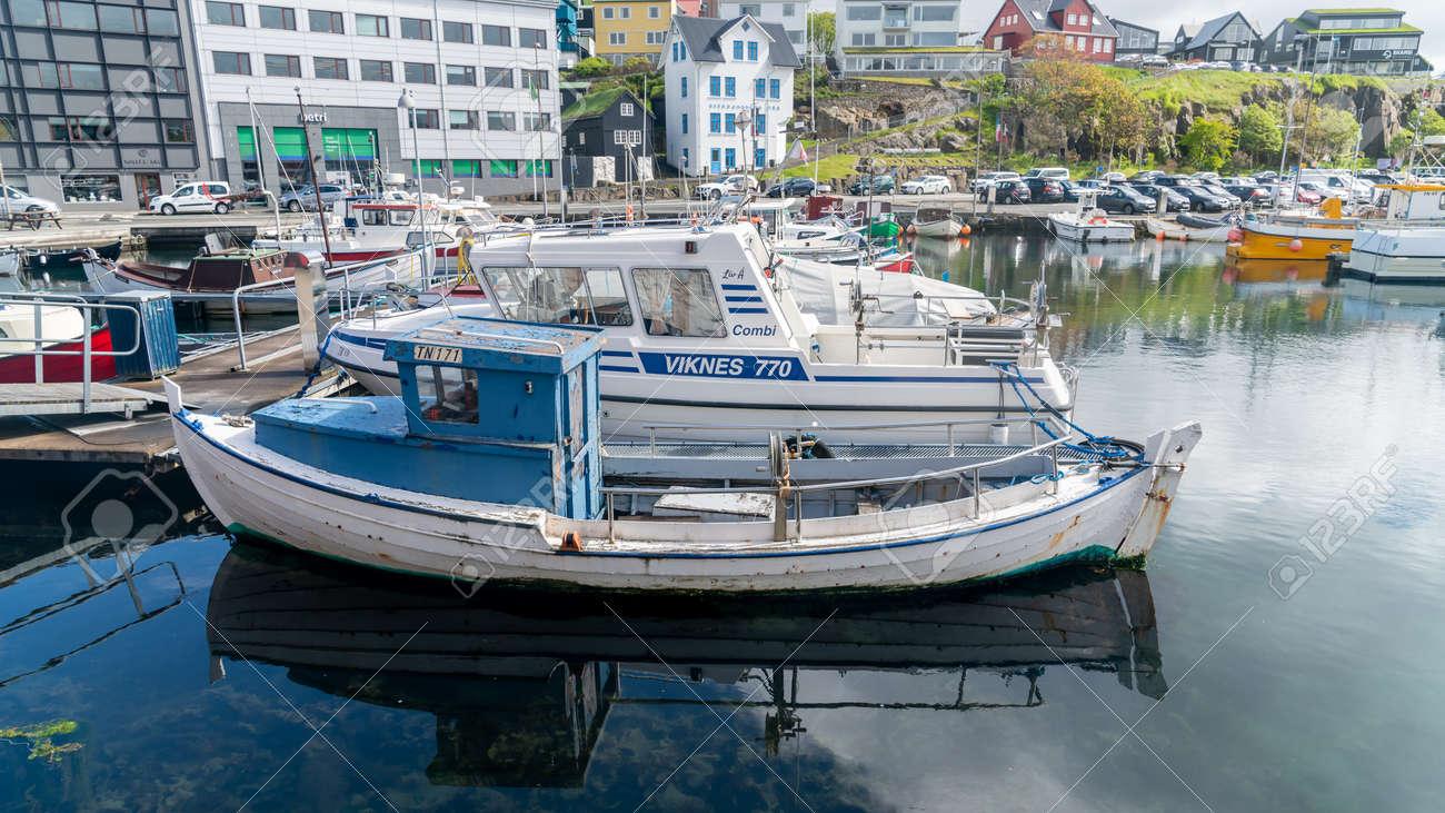 Torshavn, Faroe Islands - August 2019: Fishing boats in Torshavn marina harbour on Faroe islands. - 164356037