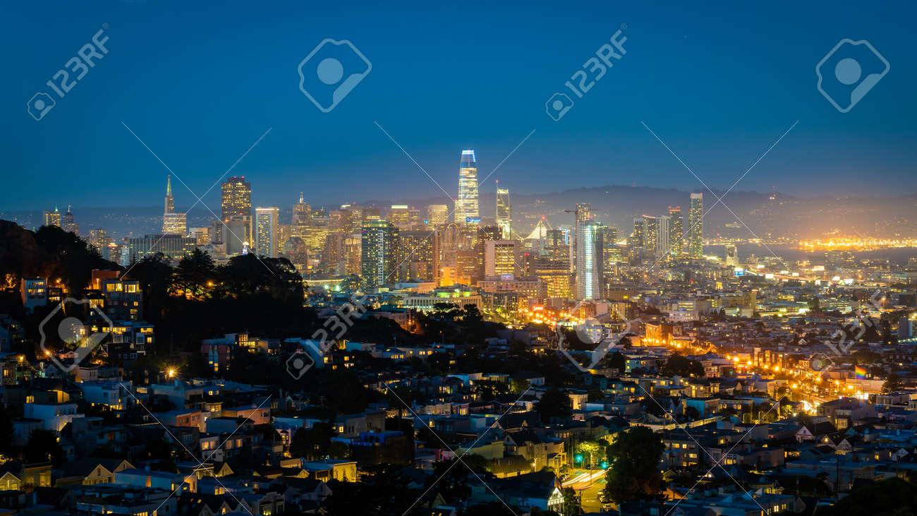San Francisco, California, USA - August 2019: San Francisco downtown cityscape at night - 164356011