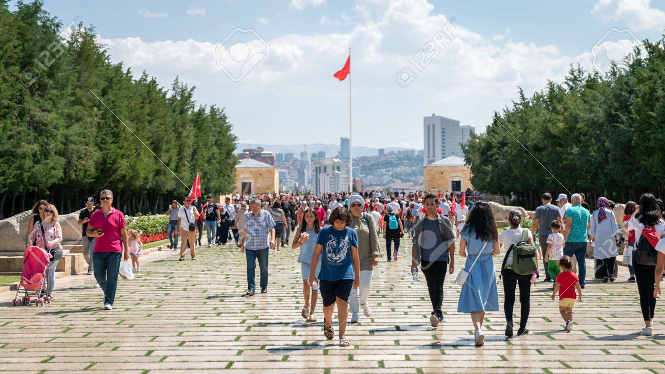 Ankara, Turkey - August 2019: People visiting Anitkabir Mausoleum of Turkish leader Ataturk in his grave to convey love and respect. - 164355969