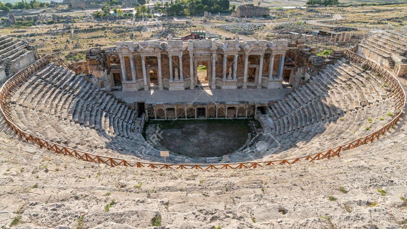 Denizli, Turkey - October 2019: Amphitheater of Hierapolis ruins in Pamukkale - 164355966