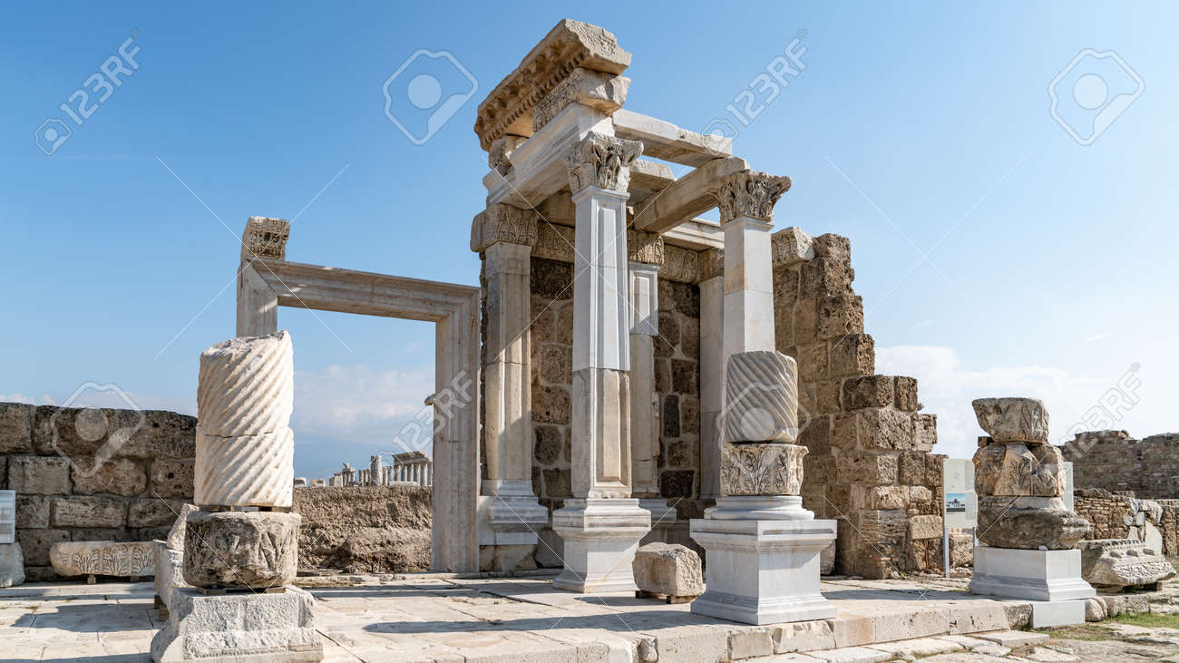 Denizli, Turkey - October 2019: Laodikeia ancient city ruins in Pamukkale, Denizli, Turkey - 164355940