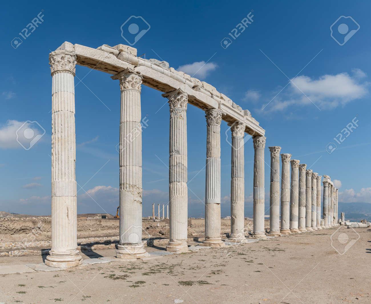 Denizli, Turkey - October 2019: Laodikeia ancient city ruins in Pamukkale, Denizli, Turkey - 164355939