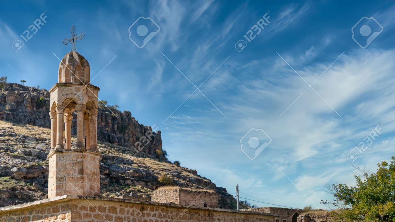 Church of abandoned Syriac village of Killit Dereici, near Savur town, in the southeastern Turkey - 164386715