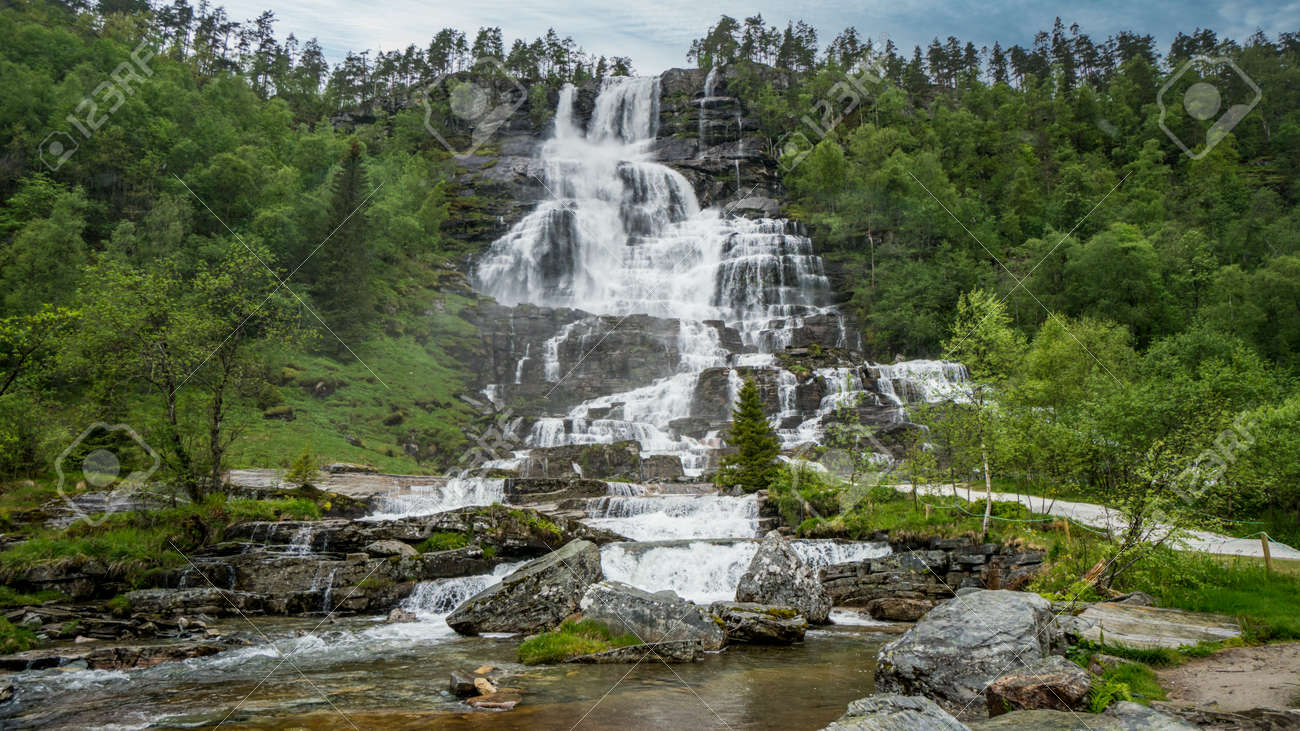 Beautiful nature landscape in Norway with a waterfall - 170090288