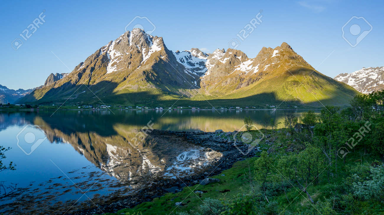 Beautiful Nature Norway natural landscape with mountain reflection on a lake. - 170089980